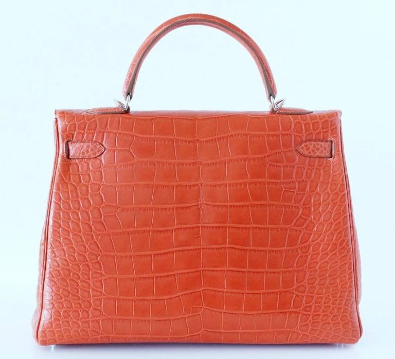 Women's Hermes Kelly Bag 35 Matte Alligator Sanguine Supple Retourne Palladium For Sale