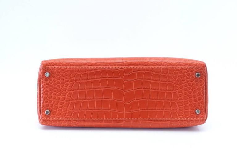 Hermes Kelly Bag 35 Matte Alligator Sanguine Supple Retourne Palladium For Sale 1