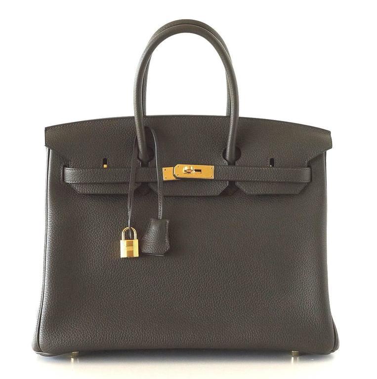 Hermes Birkin 35 Bag Rare Vert Bronze Olive Veau Trekking Leather Gold Hardware 2