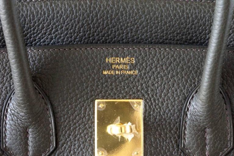 HERMES BIRKIN 35 Bag VERT BRONZE Olive Veau Trekking Leather Gold 3