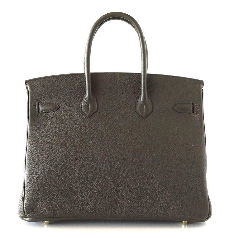 Hermes Birkin 35 Bag Rare Vert Bronze Olive Veau Trekking Leather Gold Hardware 6