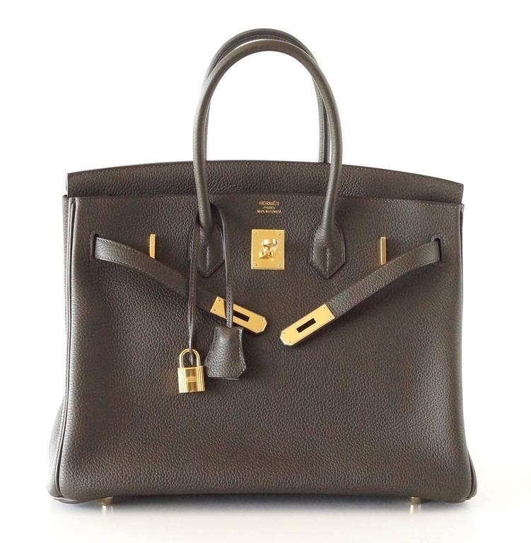 Hermes Birkin 35 Bag Rare Vert Bronze Olive Veau Trekking Leather Gold Hardware 4