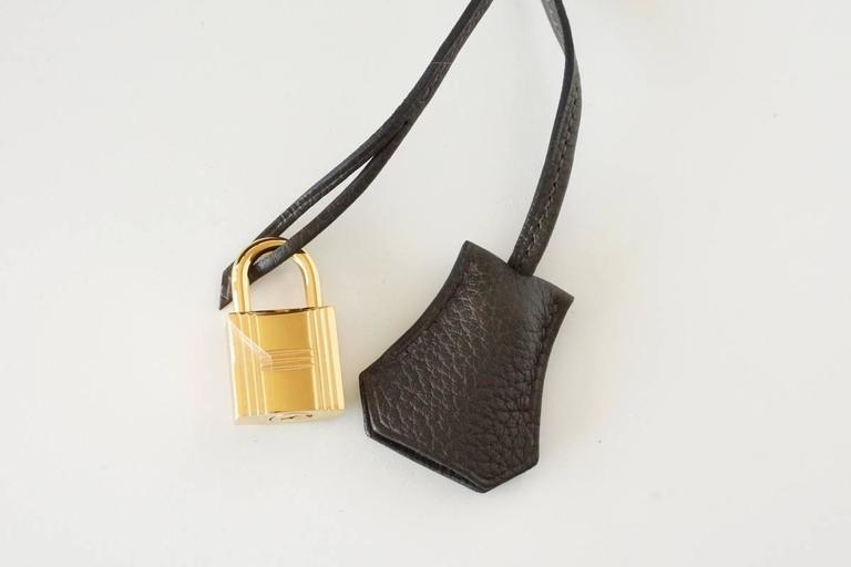 HERMES BIRKIN 35 Bag VERT BRONZE Olive Veau Trekking Leather Gold 5