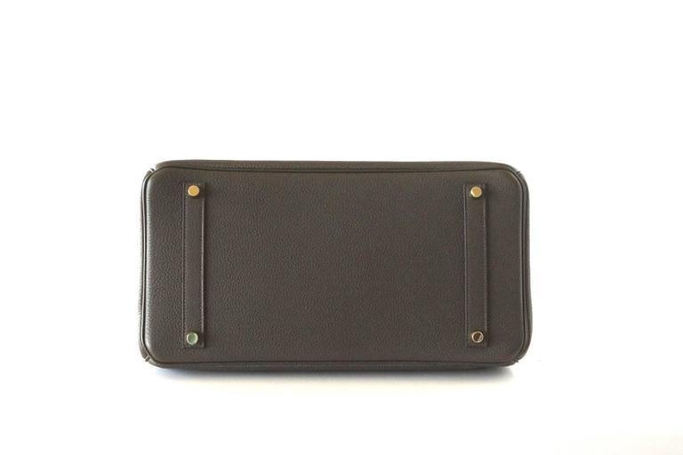 Hermes Birkin 35 Bag Rare Vert Bronze Olive Veau Trekking Leather Gold Hardware 7