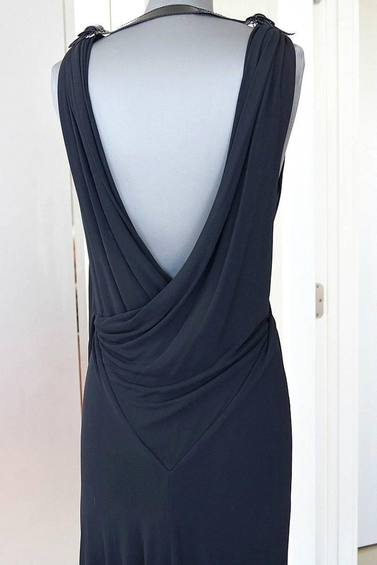 Jean Paul Gaultier Dress Faux Wrap Backless Leather and Buckle Detail 44 / 8 2