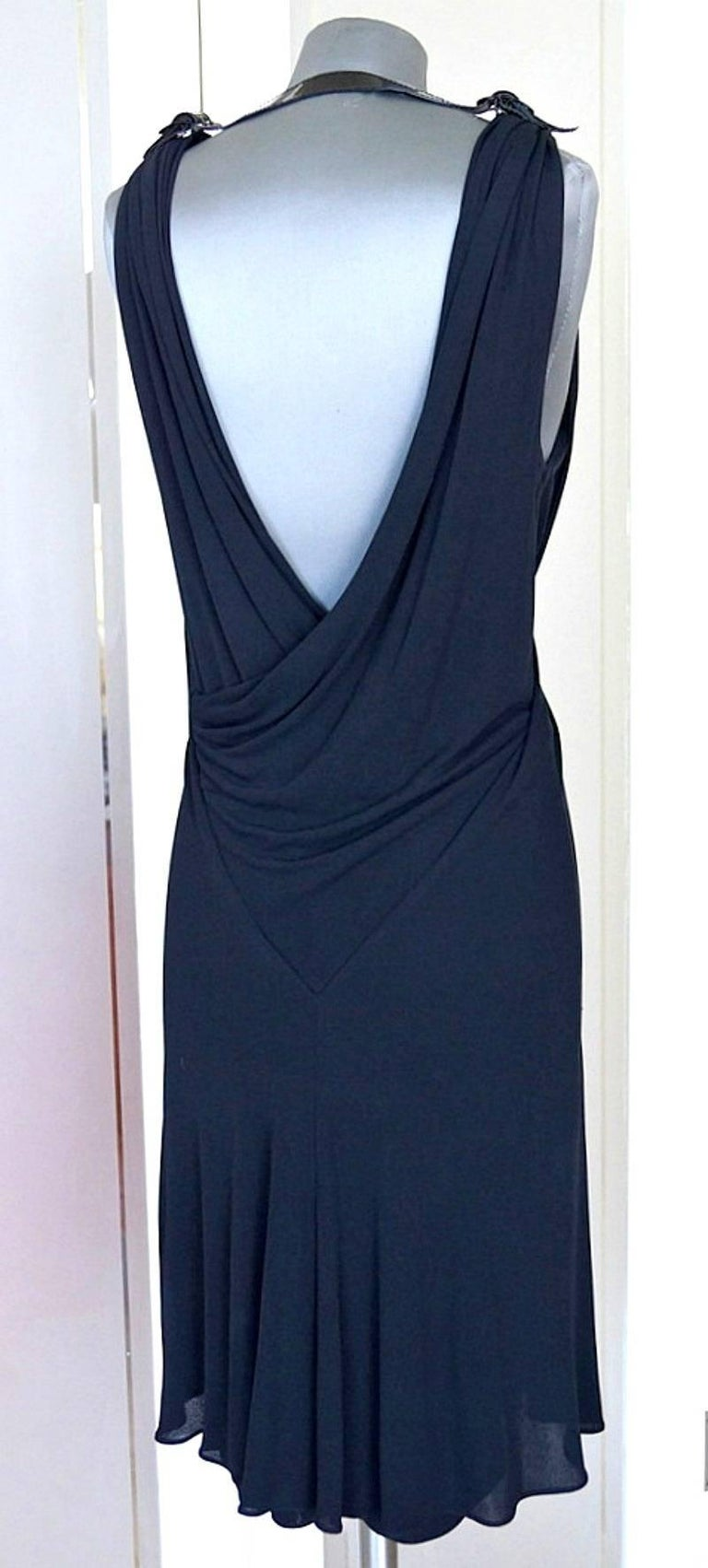 Jean Paul Gaultier Dress Faux Wrap Backless Leather and Buckle Detail 44 / 8 3