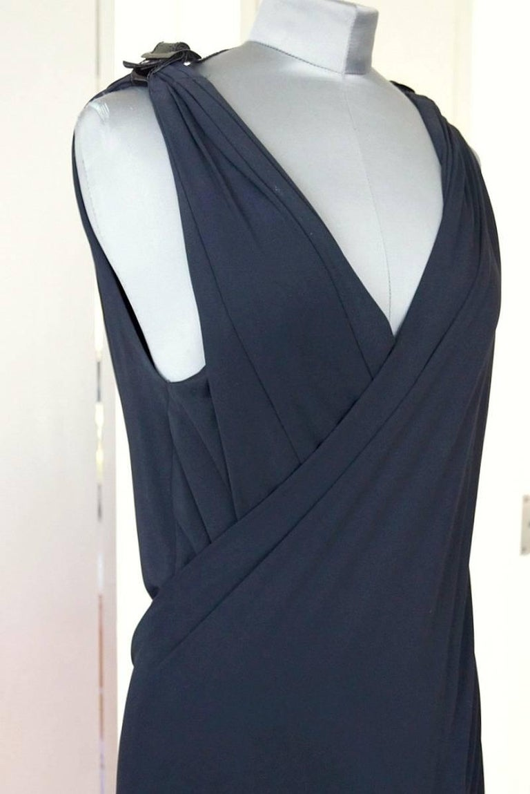 Jean Paul Gaultier Dress Faux Wrap Backless Leather and Buckle Detail 44 / 8 4