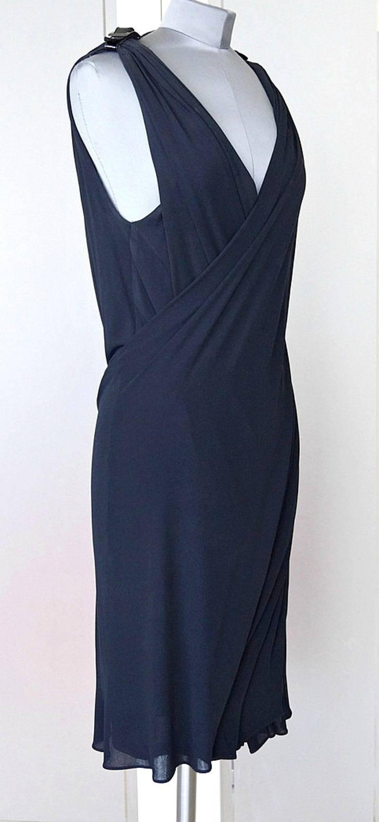 Jean Paul Gaultier Dress Faux Wrap Backless Leather and Buckle Detail 44 / 8 6