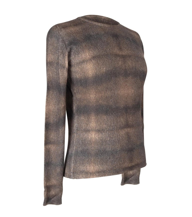 Women's Lucien Pellat-Finet Top Cashmere and Silk M Gorgeous Print Muted Colours M For Sale