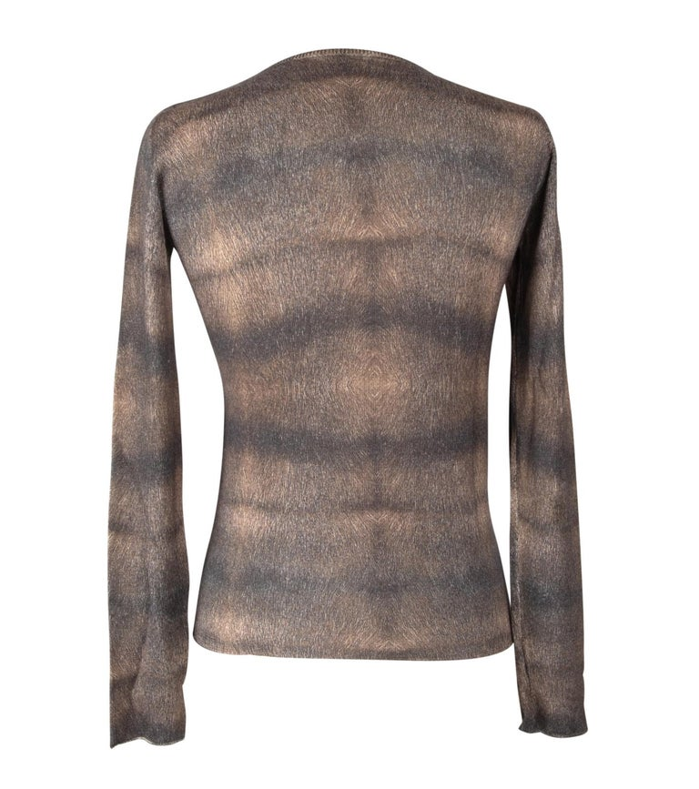 Lucien Pellat-Finet Top Cashmere and Silk M Gorgeous Print Muted Colours M For Sale 2
