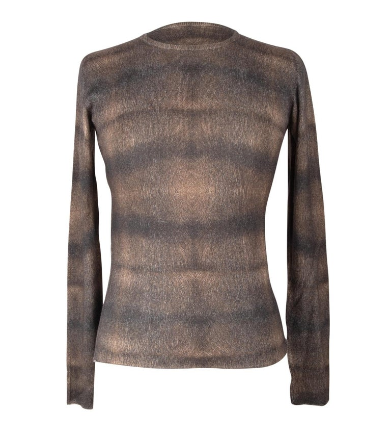 Guaranteed authentic Lucien Pellat-Finet buttery soft top. Fabulous long sleeve, round neck top that is buttery soft.   Brown and black faint stripe with a beautiful pattern that looks textured. Cashmere and silk . final sale    SIZE M  TOP