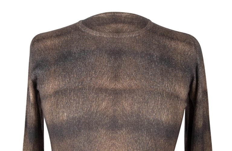 Lucien Pellat-Finet Top Cashmere and Silk M Gorgeous Print Muted Colours M For Sale 3