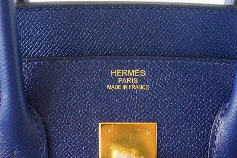 Exquisitely rich, jewel toned SAPPHIRE BLEU Blue with coveted gold hardware. Epsom leather is textured and holds the shape of the bag beautifully. NEW or NEVER WORN.   Comes with sleepers, lock, keys, raincoat and signature Hermes box.  final