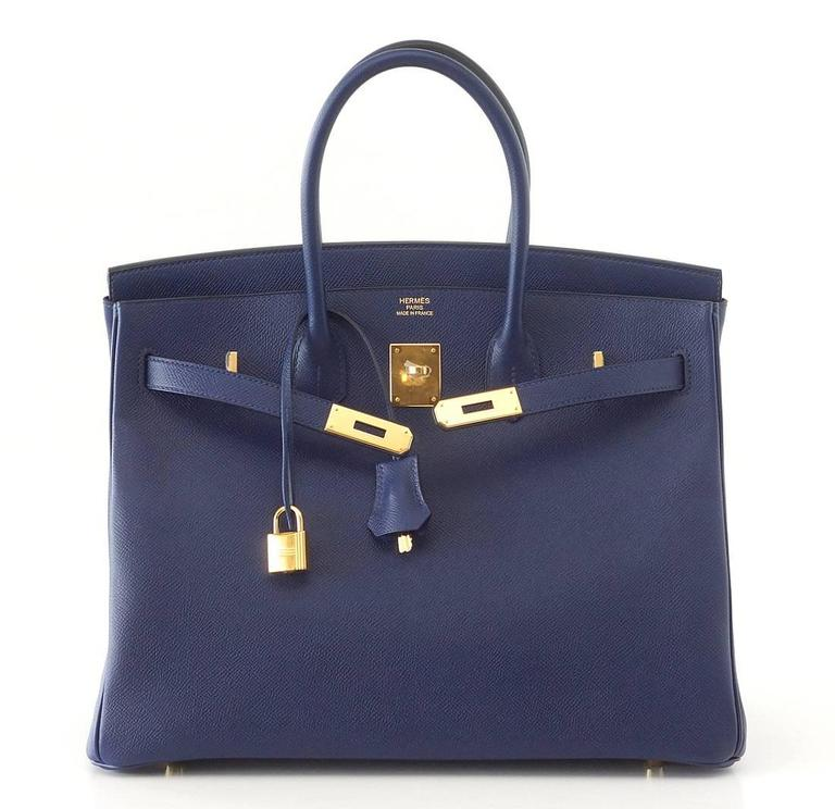 HERMES BIRKIN 35 Bag BLUE SAPPHIRE Epsom Coveted Gold Hardware  In New Condition For Sale In Miami, FL
