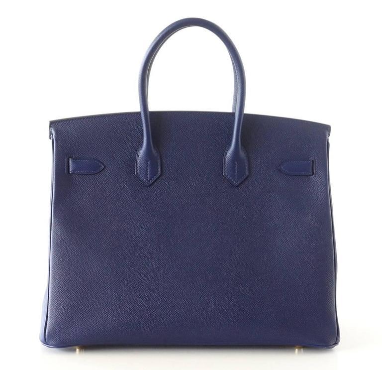 HERMES BIRKIN 35 Bag BLUE SAPPHIRE Epsom Coveted Gold Hardware  5