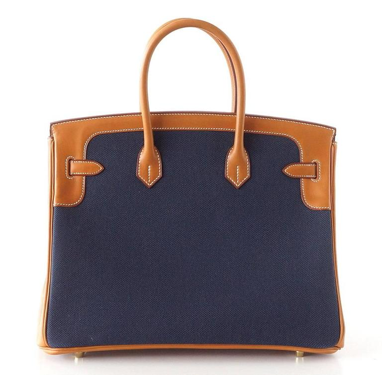 Hermes Birkin 35 Bag Blue Flag Toile Barenia Leather Permabrass Limited Edition 2
