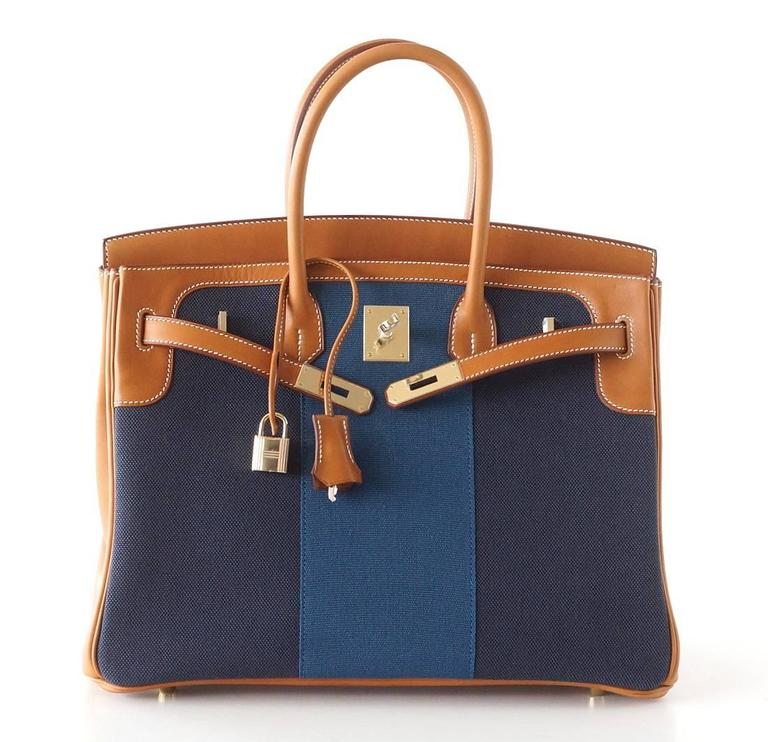 Hermes Birkin 35 Bag Blue Flag Toile Barenia Leather Permabrass Limited Edition 3