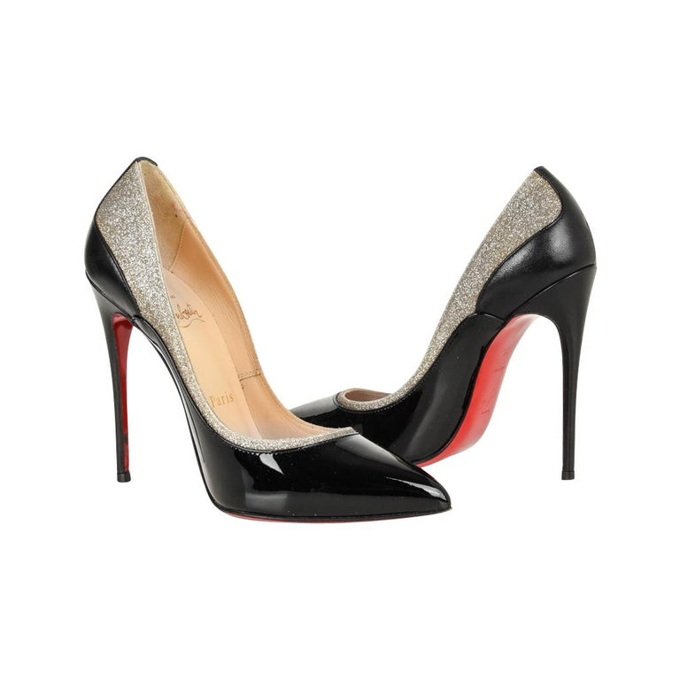 bf7a9db81501 Christian Louboutin Pigalle Black Patent Shoe with Glitter For Sale ...