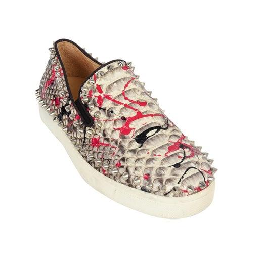 best service 0f30d 68072 Christian Louboutin Shoe Snakeskin Graffiti Pik Boat Sneakers 35 / 5