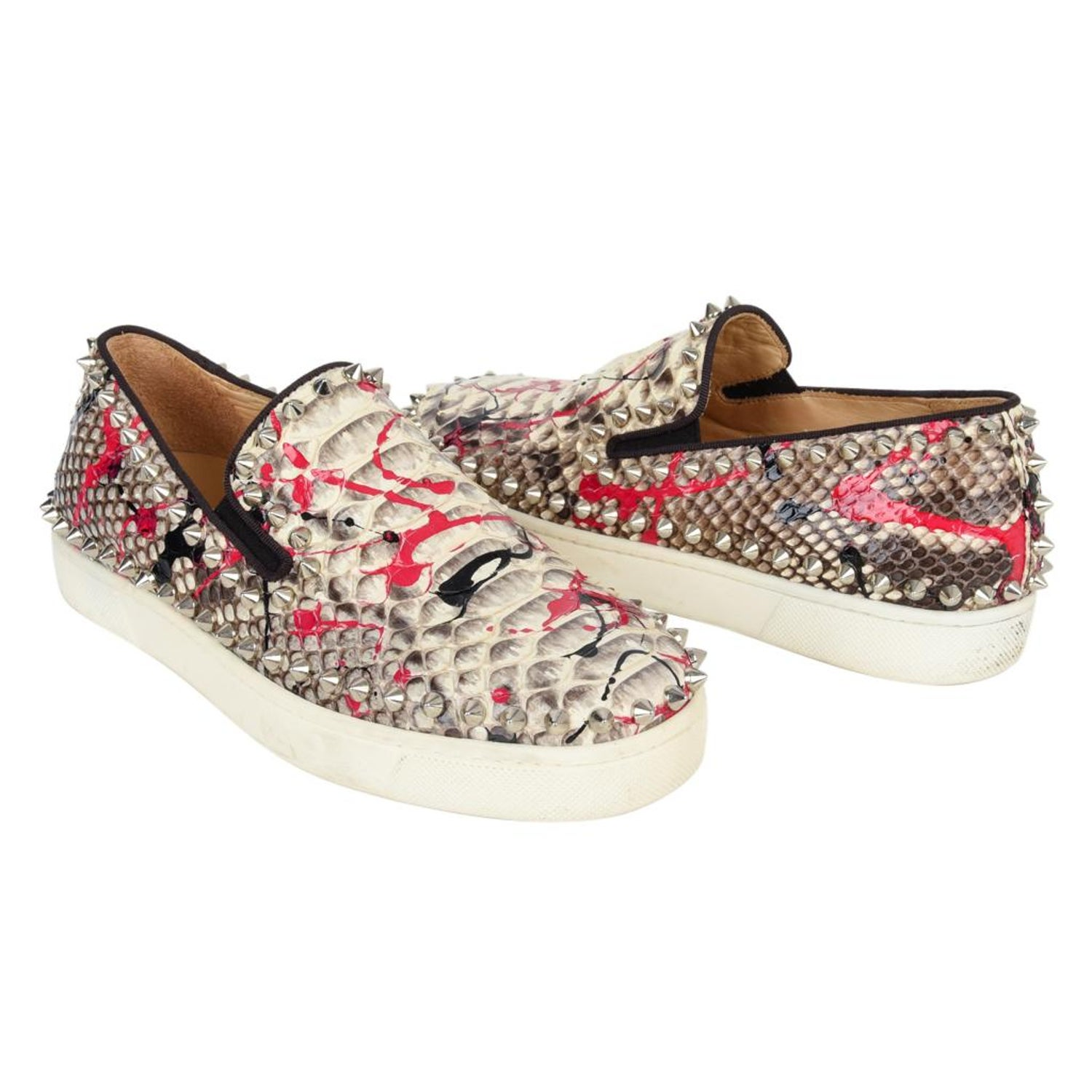 946293b4a524 Christian Louboutin Shoe Snakeskin Graffiti Pik Boat Sneakers 35   5 For  Sale at 1stdibs