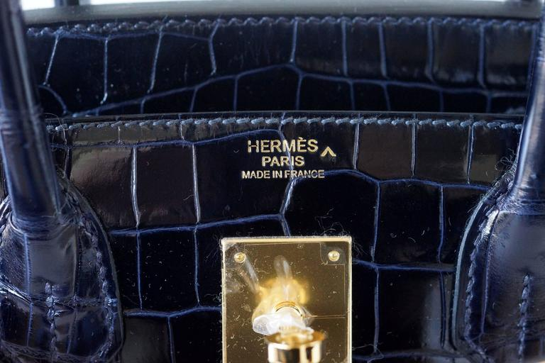 Hermes Birkin 30 Bag Blue Marine Porosus Crocodile Gold Hardware 2