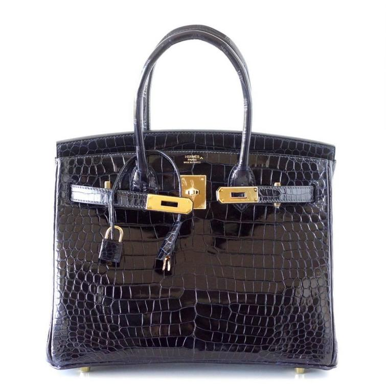 Hermes Birkin 30 Bag Blue Marine Porosus Crocodile Gold Hardware 4