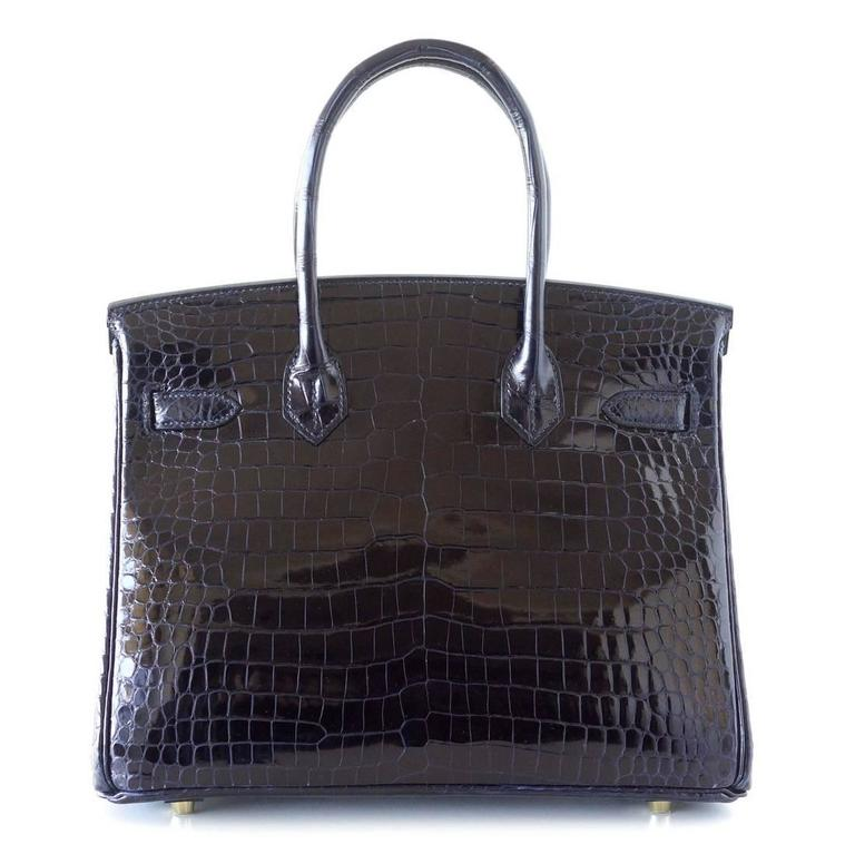 Hermes Birkin 30 Bag Blue Marine Porosus Crocodile Gold Hardware 5