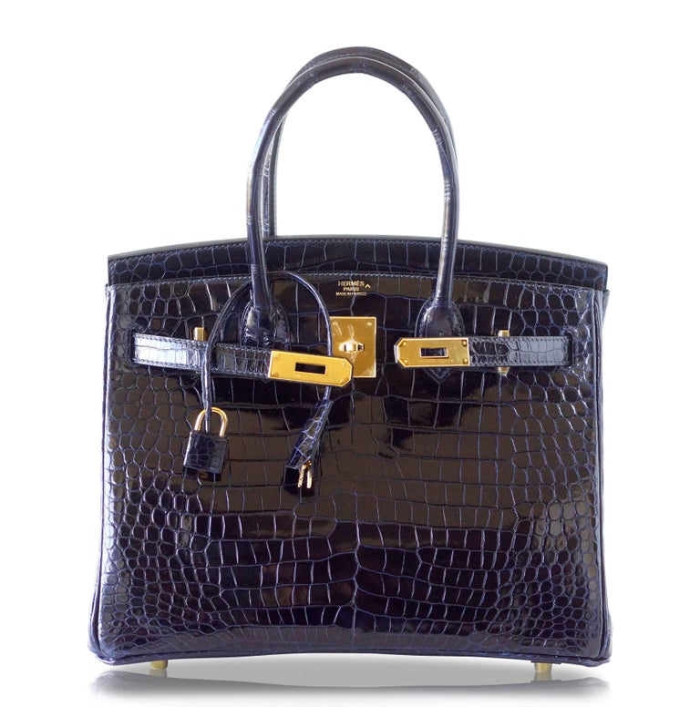 Hermes Birkin 30 Bag Blue Marine Porosus Crocodile Gold Hardware In New Never_worn Condition For Sale In Miami, FL