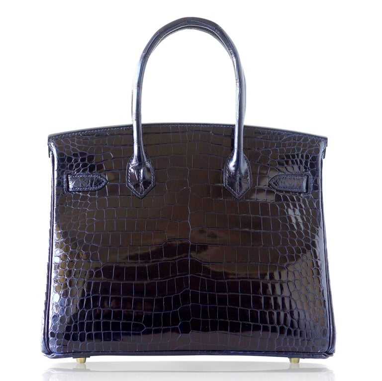 Women's Hermes Birkin 30 Bag Blue Marine Porosus Crocodile Gold Hardware For Sale