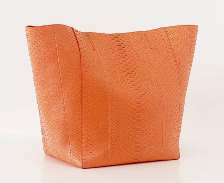 Guaranteed authentic Celine Cabas Phantom orange snakeskin tote. Light weight sleek and timeless. Open top with interior ties. Interior has zip pocket with leather pull and 2 slot pockets. CELINE MADE IN ITALY stamp in gold below zip pocket. Carried