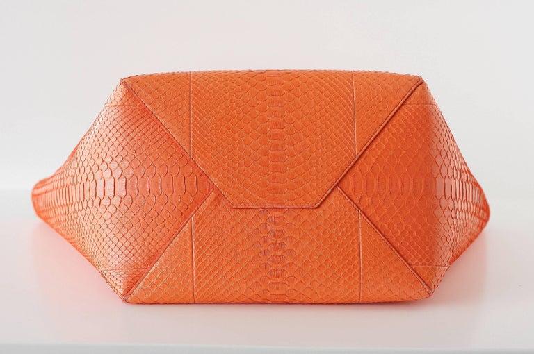 Women's Celine Bag Orange Phantom Cabas Snakeskin Tote Shoulder Bag For Sale