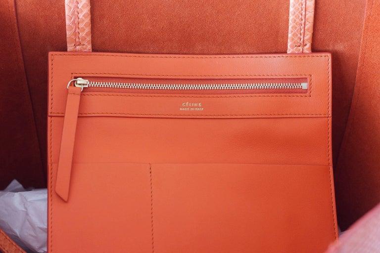 d74210e228 Celine Bag Orange Phantom Cabas Snakeskin Tote Shoulder Bag at 1stdibs
