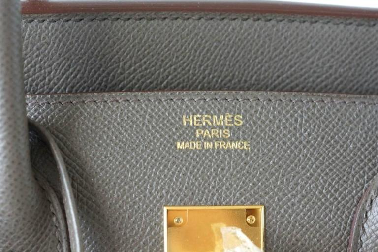 HERMES BIRKIN 35 Bag Etain Gray Epsom Gold Hardware In New Never_worn Condition For Sale In Miami, FL