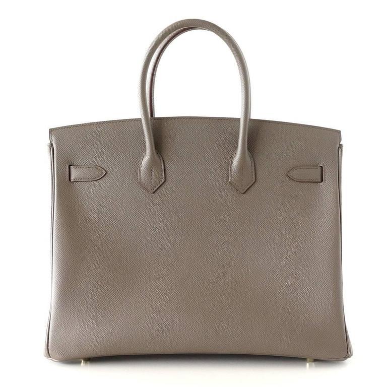 HERMES BIRKIN 35 Bag Etain Gray Epsom Gold Hardware 5
