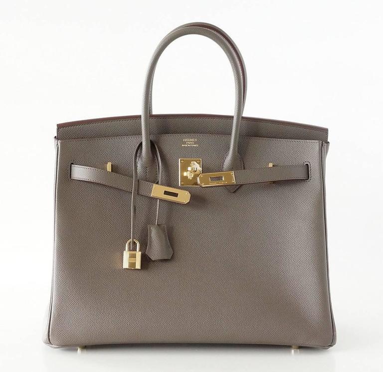 HERMES BIRKIN 35 Bag Etain Gray Epsom Gold Hardware 4