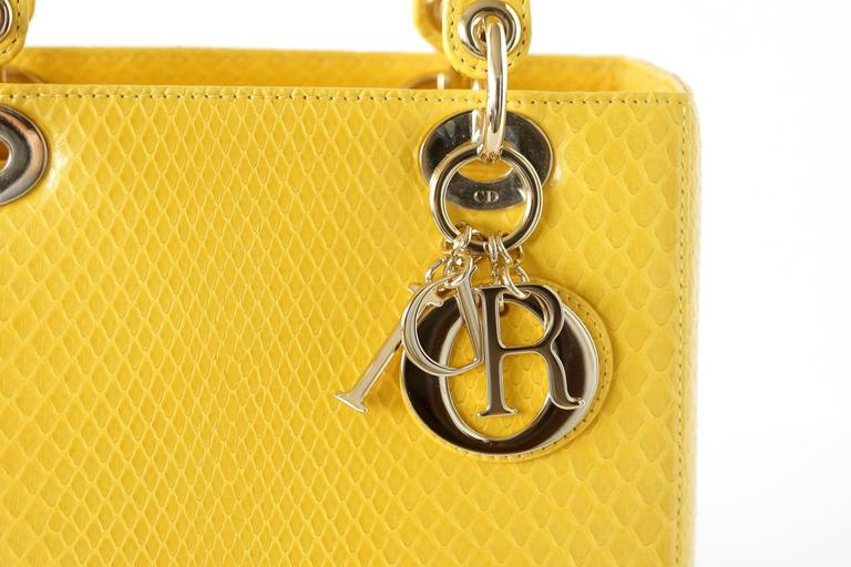 CHRISTIAN DIOR Bag Lady Dior Medium Beautiful Clear Yellow Snakeskin 2