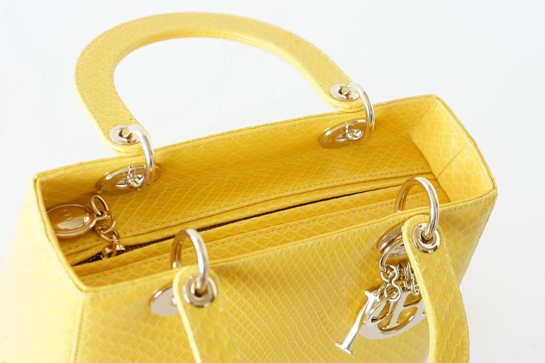 CHRISTIAN DIOR Bag Lady Dior Medium Beautiful Clear Yellow Snakeskin 3