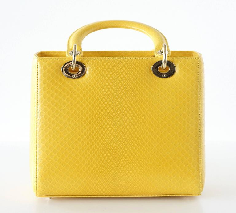 CHRISTIAN DIOR Bag Lady Dior Medium Beautiful Clear Yellow Snakeskin 4