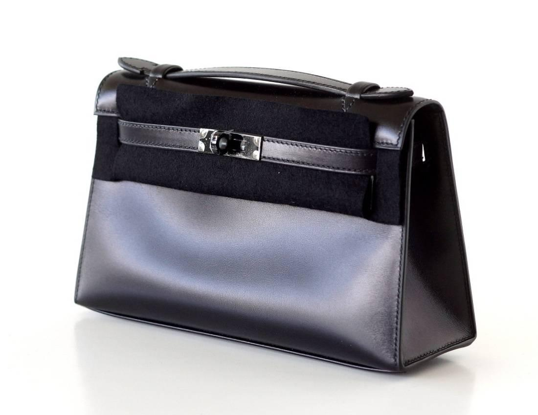 HERMES Kelly Pochette limited edition very rare SO BLACK box ...
