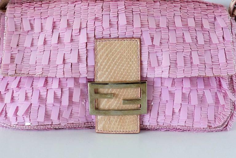 FENDI Baguette Bag Pink Paillettes Exotic Skin Handle Vintage 2