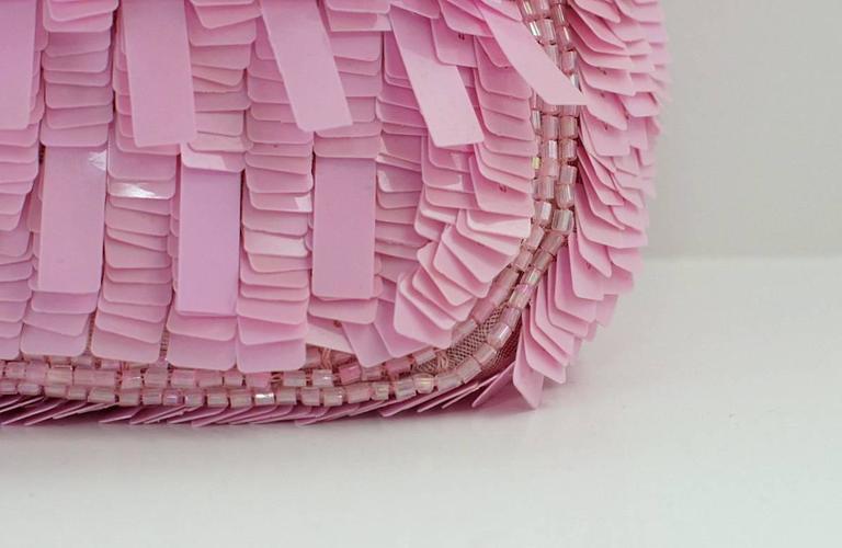 FENDI Baguette Bag Pink Paillettes Exotic Skin Handle Vintage 3