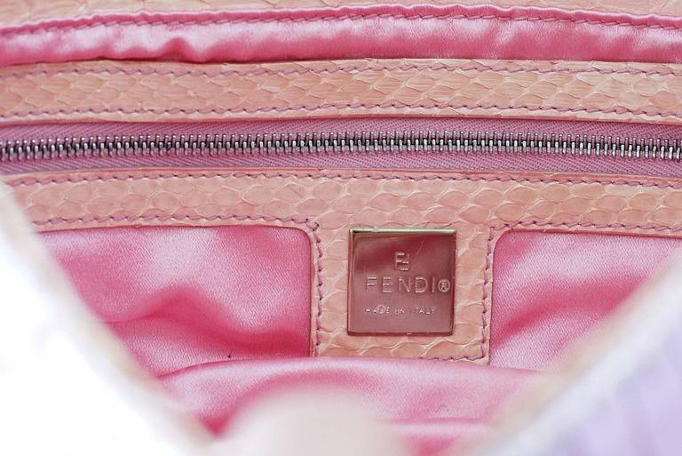 Fendi Baguette Bag Pink Paillettes Exotic Skin Handle Vintage For Sale 2