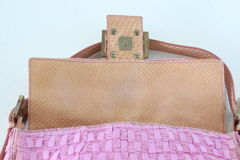 FENDI Baguette Bag Pink Paillettes Exotic Skin Handle Vintage 4
