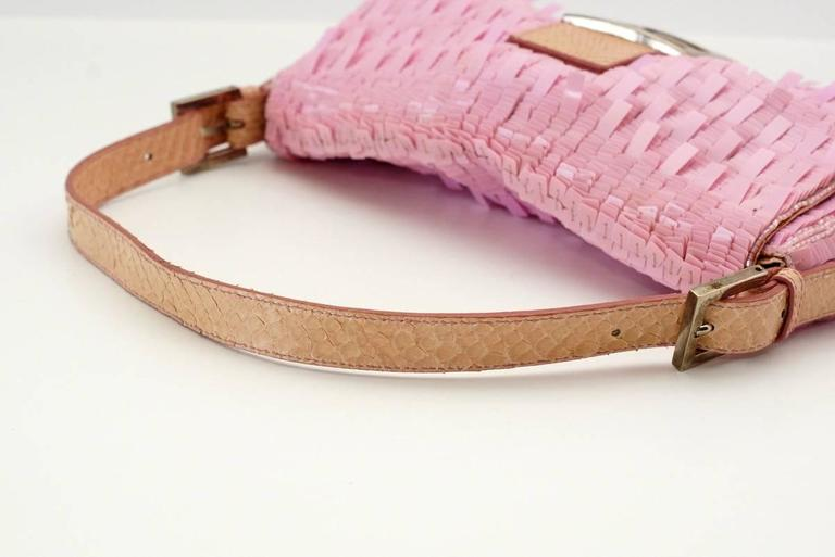 FENDI Baguette Bag Pink Paillettes Exotic Skin Handle Vintage 6