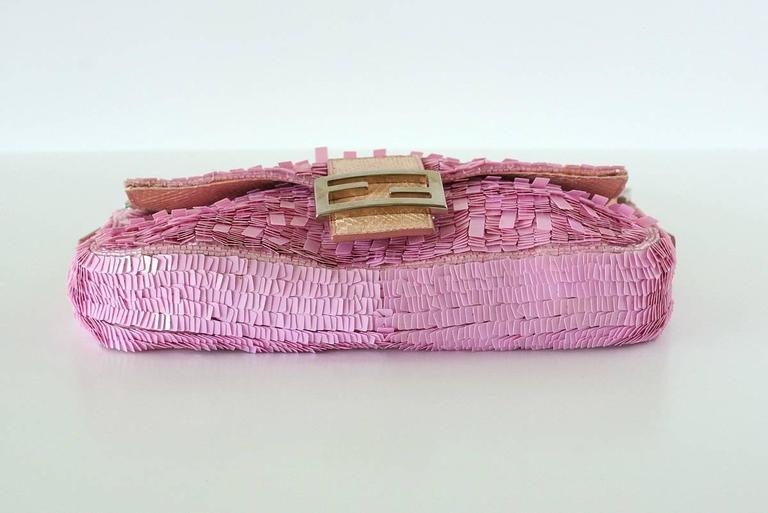 FENDI Baguette Bag Pink Paillettes Exotic Skin Handle Vintage 8