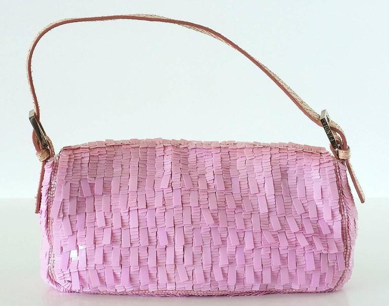 FENDI Baguette Bag Pink Paillettes Exotic Skin Handle Vintage 7