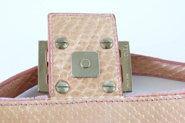 FENDI Baguette Bag Pink Paillettes Exotic Skin Handle Vintage 5