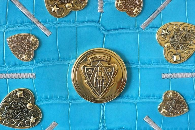 Blue Gucci Exclusive Limited Edition Turquoise Crocodile Irina Tote Bag new For Sale