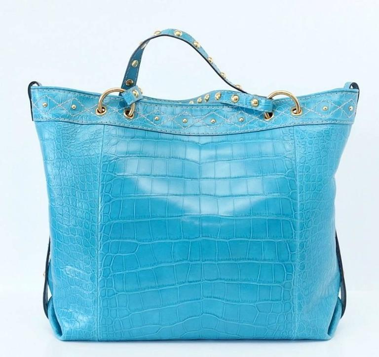 Gucci Exclusive Limited Edition Turquoise Crocodile Irina Tote Bag new For Sale 1