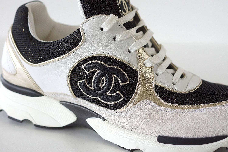 chanel sneaker tennis shoe white metallic black 39 5 9 5